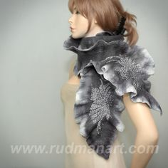 REDUCED Wool Silk Felted Art hand dyed scarf nunofelting Silver Gray Tree Leaves. $79.00, via Etsy.