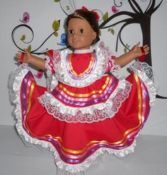 Your place to buy and sell all things handmade Folklorico Dresses, Color Swirl, Big Bows, Turquoise Color, Victorian Fashion, Swirls, Ribbons, Her Hair, American Girl