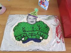Incredible Hulk Cake- I may do something like this for Bray. Now incredible hulk for Halloween. {writing: happy 4th birthday incredible Brayden}