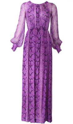 Yves Saint Laurent Haute Couture 1970s Silk Python Print Chiffon Gown