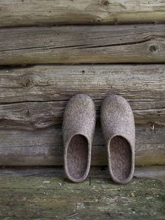 Felted slippers with very dark brown rubber soles for men - eco friendly, handmade to order. Real rustic style, pure natural, minimal. Amazing and super practical natural color - greyish brown (cappuccino brown). Made by Vaida Petreikis | Studio VART