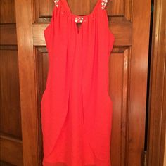 Bright Pink Semi Formal Dress! Stand out in this bright pink dress! In perfect condition! Worn once to an event and everyone loved the color! Purchased at Lord and Taylor. Size 5/6 but fits more like a 4! Adrianna Papell Dresses Mini