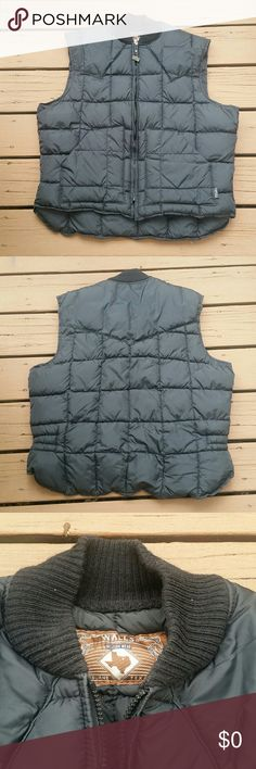 Walls Down Vest Heavy duty vest. I believe this a true down vest being a Walls product, but not 100% sure. This baby is warm and well made. Has two front pockets. Quilted. Has western yoke on back. Collar is knit. Great condition! Walls Western Wear Jackets & Coats Vests