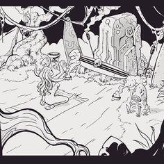 A ritual for dark surf gods  Again inspired by #trvesvrfblackmetal   #trve  #svrf #black #metal #surf #digitalart  #digitalillustration  #digitalink #ink #inkedgirls  #ritual #dark #mythos #cthulhu  #lovecraft