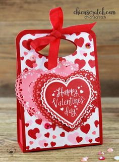 Valentine Treat Box with Chic n Scratch, Stampin' Up! Demonstrator Angie Juda My project for you today is a Valentine Treat Box and it will hold a variety Valentines Day Treats, Valentine Box, Valentines Day Decorations, Valentine Day Crafts, Kids Valentines, Treat Holder, Treat Box, Stamping Up, Homemade Cards