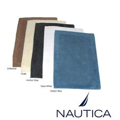 Nautica Reversible Cotton 2 Piece Bath Rug Set By. 72 X 78 Long Navy Damask