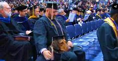 """Army Veteran And College Graduate Receives Diploma With His Service Dog At His Side 