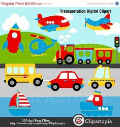 Transportation Digital Clipart by ClipArtopia on Etsy