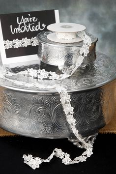 Lace Ribbon Floral Antique White 1in x 5yd