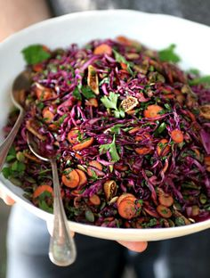 and i'm gonna make this power salad! Purple Power Salad from My New Roots Raw Food Recipes, Salad Recipes, Vegetarian Recipes, Cooking Recipes, Healthy Recipes, Delicious Recipes, Healthy Salads, Healthy Eating, Healthy Food