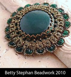 KIT- Green Modern Heirloom Pin with Braiding on Etsy Bead Embroidery Jewelry, Beaded Embroidery, Beaded Jewelry, Beaded Bracelets, Jewellery, Beading Tutorials, Beading Patterns, Beaded Brooch, Beads And Wire