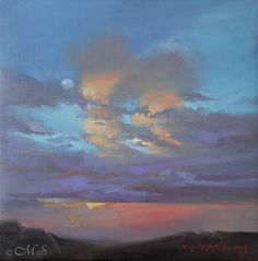 Big Sky Country 12×12 Oil on Linen. © Margret E. Short #art #painting #portland #chiaroscuro