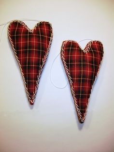 Pair of Plaid Heart Ornaments with Hand  Embroidery by MyDisgustedCats on Etsy, $14.00