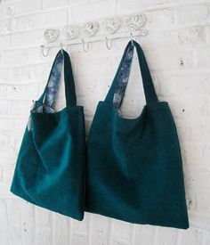 Handmade Kingfisher Green Corduroy Bag by MadeinW6 on Etsy