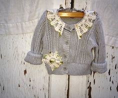 shabby baby stone gray grey vintage lace boho autumn winter starlet gypsy toddler size 2 cardigan eco sweater. $25.00, via Etsy.