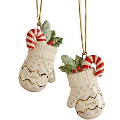 LENOX Ornaments: Holiday Accents - Best Friends 2-piece Forever Mitten Ornament Set