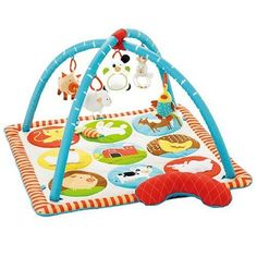 $60.00-$60.00 Baby There's so much to do on the farm with the Funky Farmyard Activity Play Mat by Skip Hop! Skip Hop's whimsical, graphic activity play mat has soft arches and a matching quilted tummy time pillow. 12 easy to hang loops and 5 hanging toys offer irresistible mulit-sensory play for baby at every stage of development. Plus textures and squeaky sounds on the mat surface add to the fu ...