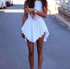 Sexy White Pleated Asymmetrical Hem Dress