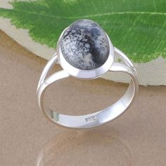 925 STERLING SILVER EXCLUSIVE DENDRITEC AGATE GEMSTONE RING 5.09g DJR2599 #Handmade #Ring
