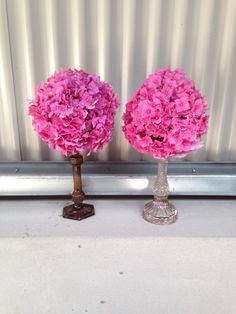 Table centres - hydrangea pomanders on candlesticks - getting ready for the tables