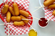 Skip the store-bought snacks in favor of an easy recipe for homemade corn dogs that take just minutes to make!