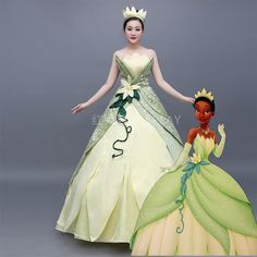 Princess and The Frog Princess Tiana Costume – CosplayFTW Princess Tiana Costume, Frog Princess, Disney Princess Dresses, Princess Ball Gowns, Princess Outfits, Disney Dresses, Girl Outfits, Princesa Tiana, Robes Disney