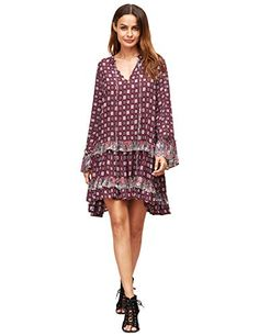 Milumia Womens Bohemian Fall Tribal Print Long Sleeve Swing Dress Burgundy L * Check this awesome product by going to the link at the image.