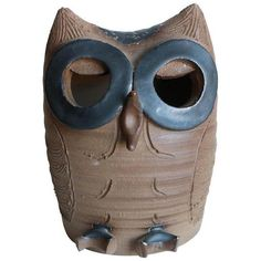 Vintage Minnickel California Studio Pottery Owl ($59) ❤ liked on Polyvore featuring home, home decor, models & figurines, vintage owl figurines, vintage home decor, owl figure, vintage home accessories and owl home accessories