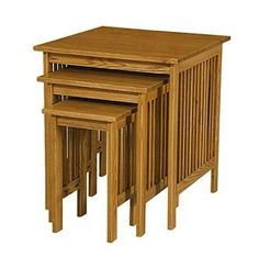 Prairie Meadow Nesting Tables: Treat yourself to the well-ordered appeal of traditional Mission styling with these Amish-built nesting tables. This three piece set of occasional tables fit neatly within one another, saving space and offering immediate use, if needed. Beautifully simple, this Mission nesting table set offers classic slat styling in oak, cherry or quartersawn white oak and with your choice of a variety of finishes