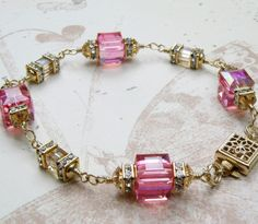 Pink Champagne Bracelet, Gold Filled, Swarovski Crystal, Wedding, Handmade Jewelry, Spring Fashion. $98.00, via Etsy.