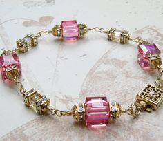 Pink Champagne Bracelet, Gold Filled, Swarovski Crystal, Wedding, Handmade Jewelry, Spring Fashion. $98.00, via Etsy.