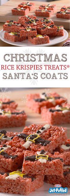 Christmas Rice Krispies Treats Santa's Coats Holiday Baking, Christmas Desserts, Christmas Baking, Candy Recipes, Holiday Recipes, Dessert Recipes, Cereal Treats, Rice Krispie Treats, Christmas Snacks