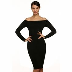 ANGVNS Stylish Ladies Women Off-shoulder Backless Long Sleeve Stretch Bodycon Slim Dress