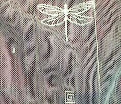 """The """"Dragonfly"""" pattern shown in this detail is available in both white and ecru in both Ready Made Lace Curtains and as Lace Fabric Yardage."""