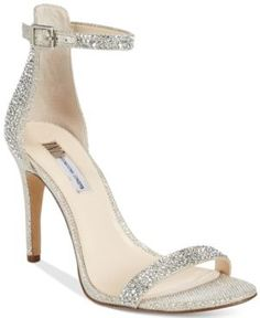 Inc International Concepts Women's Roriee Rhinestone Ankle-Strap Dress Sandals, Only at Macy's - Tan/Beige 7W