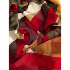 Designer Christian Fischbacher Silk Scarf Vibrant Colors Red and... ($28) ❤ liked on Polyvore featuring accessories, scarves, silk shawl, silk scarves, brown shawl, red silk scarves and bright scarves
