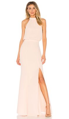 dec9c379527 Blush pink halter maxi dress LIKELY Cameron Gown in Seashell Pink