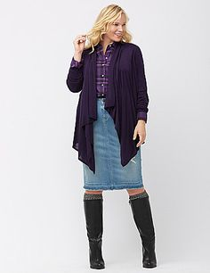 Reinvent tops and dresses by layering on this long sleeve cardigan with a flattering draped open placket and asymmetric hem. So cozy and versatile, you'll want one in every color! lanebryant.com