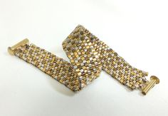 Beadwoven Bracelet of Bronze Silver and Gold by mostlybeads,