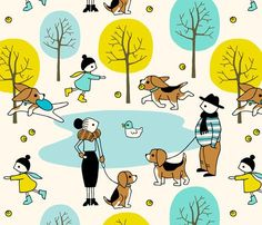 Who's the cutest pup (large) fabric by heleen_vd_thillart on Spoonflower - custom fabric