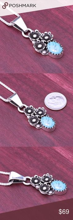 "925 Bella Turquoise Flower Pendant Stamped ""925"". Drop Length: 46 mm.  Sterling silver is an alloy of silver containing 92.5% by mass of silver and 7.5% by mass of other metal, like copper. The sterling silver standard has a minimum millesimal fineness of 925.   All my jewelry is solid sterling silver. I do not plate.   Hand crafted in Taxco, Mexico.  Will ship within 2 days Jewelry Necklaces"