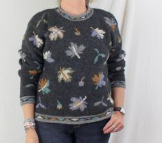 Nomadic Traders Sweater M size Womens Gray Multi Color Leaf Pattern Wool Blend #nomadictraders #Crewneck
