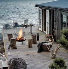 Haus am see Outdoor Spaces, Outdoor Living, Outdoor Fire, Beautiful Homes, Beautiful Places, Beautiful Beach, Haus Am See, Design Exterior, Beach Cottages