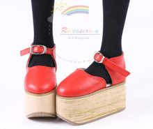 Rocking Horse Nana Mary Jane Leather Platform Shoes Red for SD Dollfie dolls