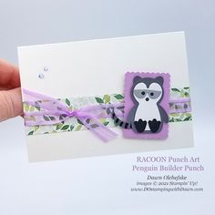 Animal Punch Art Racoon using Penguin Builder Punch card from Dawn Olchefske #dostamping #HowdSheDOthat #stampinup #punchart P Racoon, Basic Grey, Wood Patterns, Punch Art, Paper Pumpkin, Coordinating Colors, Fall Harvest, Red Apple, Christmas Cards