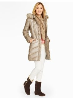 New from Talbots..just out Late October 2015. You love this Metallic Gold Hooded Puffer. So sorry picture quality not that good.