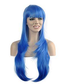 Diy-Wig New Fashion Blue Long Straight Neat Bangs Cosplay…