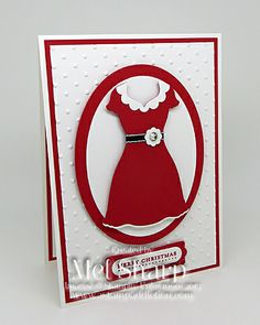 Mrs Claus Dress Up Framelits -Mel Sharp,  Stamps: Teeny Tiny Sentiments, Christmas Messages Cardstock: Real Red, Whisper White Ink: Real Red Accessories: Big Shot, Magnetic Platform, Dress Up Framelits, Ovals Collection Framelits, Perfect Polka Dots Embossing Folder, Word Window Punch, Modern Label Punch, 1 1/4″ Scallop Circle Punch, Itty Bitty Shapes Punch Pack, 1/8″ Basic Black Taffeta Ribbon, Rhinestone Basic Jewels, Glue Dots, Stampin' Dimensionals