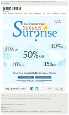 Pinned from @emailtastic - Barnes & Noble: Up to 50% Off — End the Summer with a Sunny Surprise