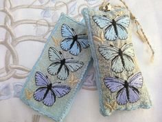 Cool HOLLY Blue BUTTERFLIES, Embroidered Lavender Pouch, Lovely scented gift, for people who love butterflies Dried Lavender Flowers, Lavender Bags, Holly Blue, Pencil And Paper, Clear Bags, Gold Ribbons, Metallic Thread, Blue Butterfly, Custom Labels